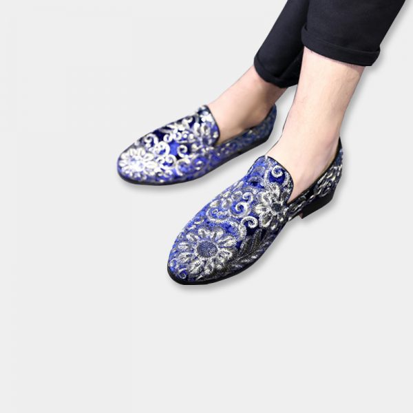 Royal Blue Velvet Embroidered Loafers With Silver Floral Design