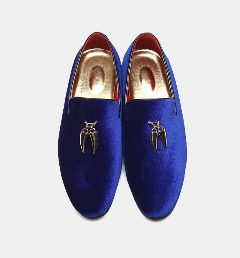 Royal Blue Suede Loafers Mens