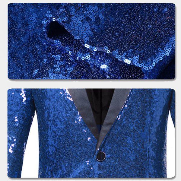 Sequins Royal Blue Tuxedo Jacket from Gentlemansguru.com