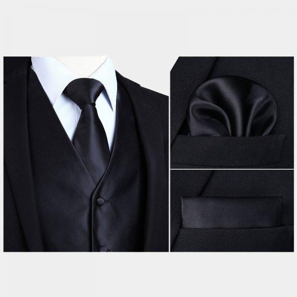 Silk Black Vest And NeckTie Set