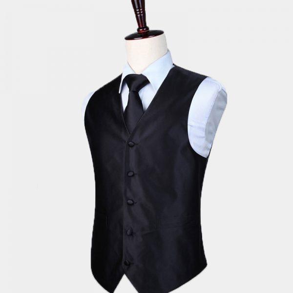 Silk Black Vest And Tie Set