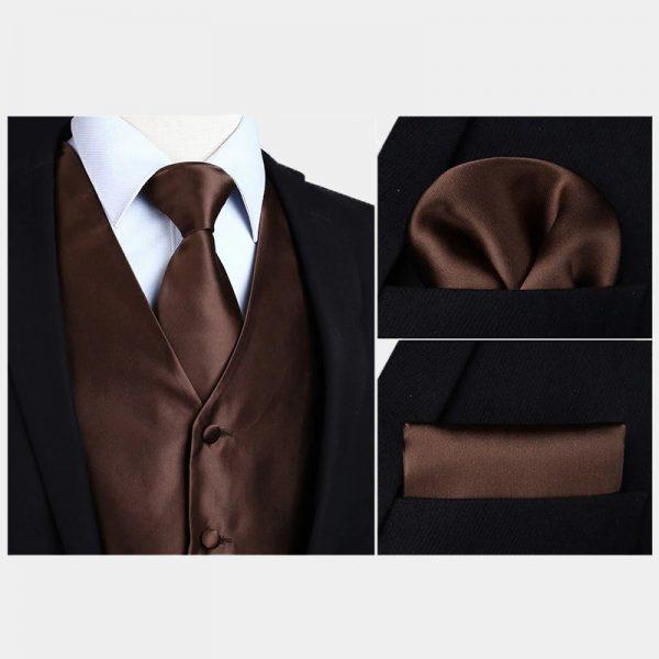 Silk Brown Vest And NeckTie Set