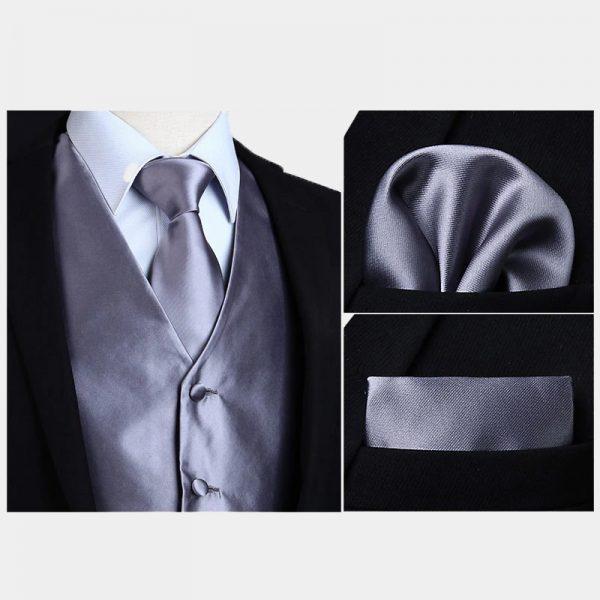 Silk Gray Vest And NeckTie Set