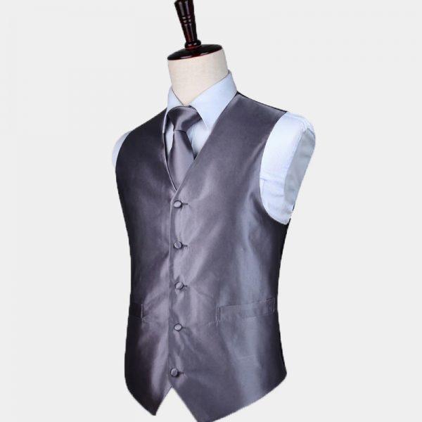 Silk Gray Vest And Tie Set