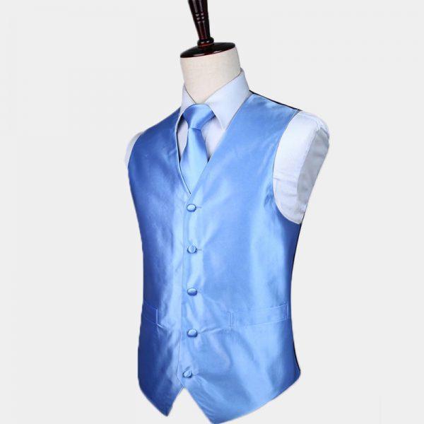 Silk Light Blue Vest And Tie Set
