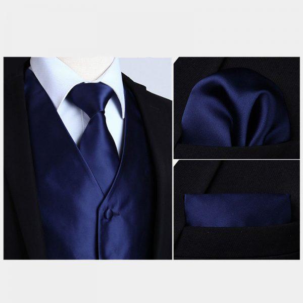Silk Navy Blue Vest And NeckTie Set
