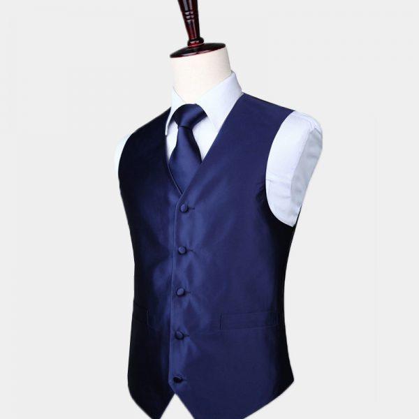 Silk Navy Blue Vest And Tie Set