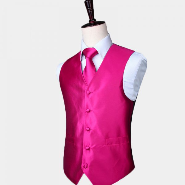 Silk Pink Vest And Tie Set
