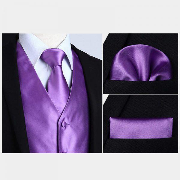 Silk Purple Vest And Necktie Set