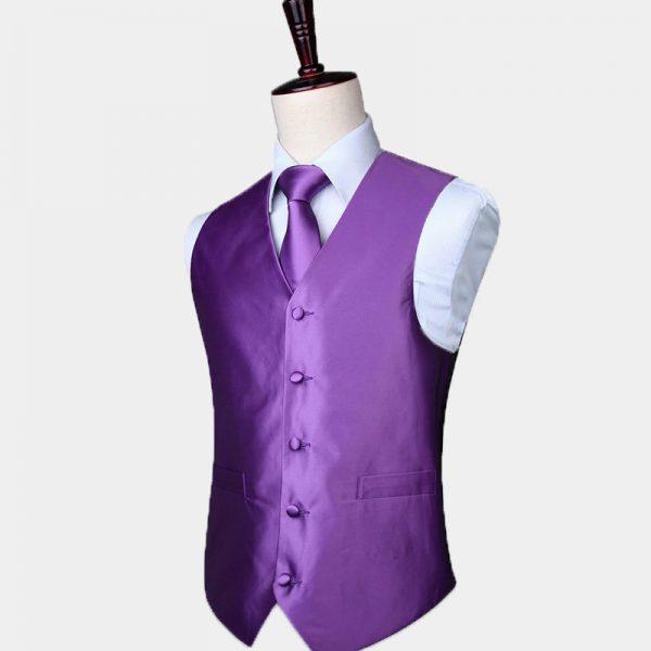 Silk Purple Vest And Tie Set
