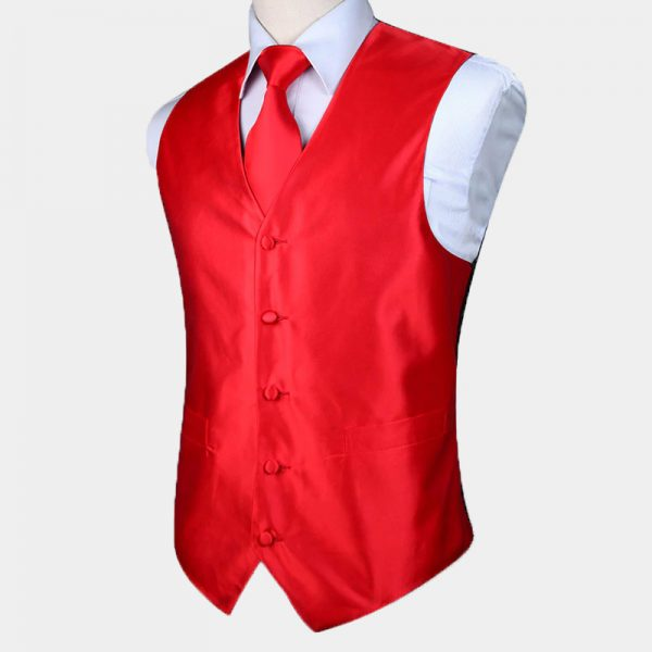 Silk Red Vest And Tie Set