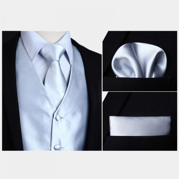 Silk Silver Vest And NeckTie Set