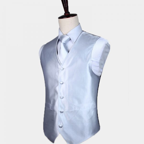 Silk Silver Vest And Tie Set