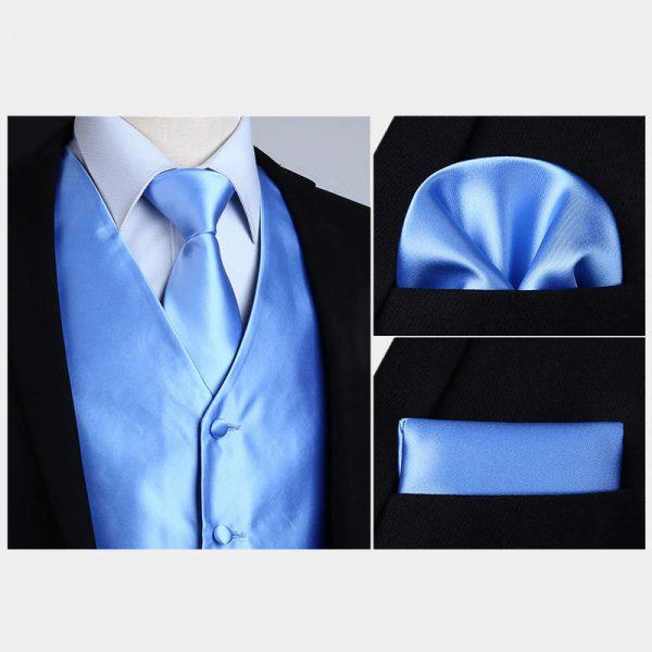 Silk Sky Blue Vest And NeckTie Set