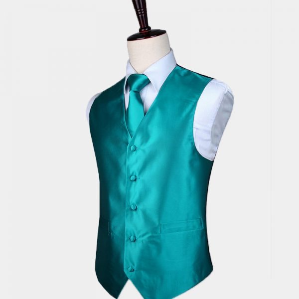 Silk Turquoise Vest And Tie Set