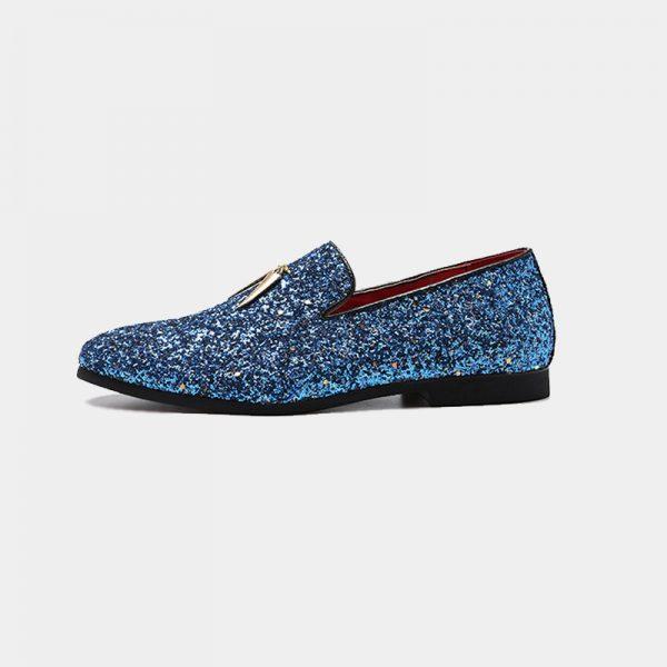 Tassel Blue Glitter Dress Shoes For Men