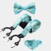 Turauoise Floral Bow Tie And Suspenders Set from Gentlemansguru.com