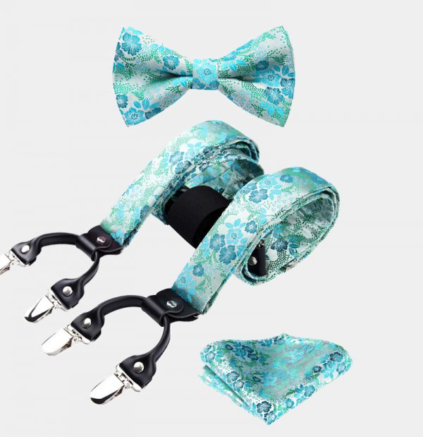Turauoise Floral Bow Tie And Suspenders Set from Gentlemansguru.com