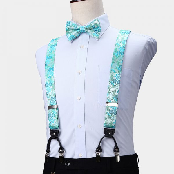 Turquoise Floral Suspenders And Bow Tie Set from Gentlemansguru.com