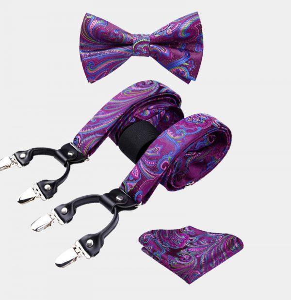 Violet Paisley Bow Tie And Suspenders Set from Gentlemansguru.com