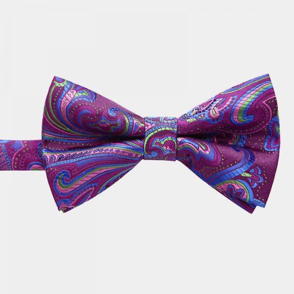 Violet Paisley Pre-Tie Bow Tie from Gentlemansguru.com