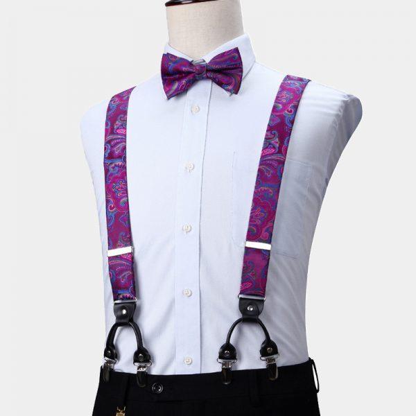 Violet Paisley Suspenders And Bow Tie Set from Gentlemansguru.com