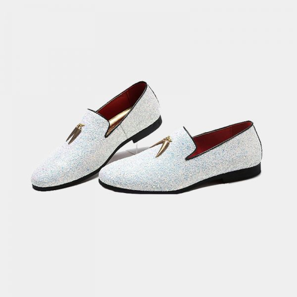 eec09c0c1d7c White Glitter Loafers - Men s Dress Shoes - Gentleman s Guru