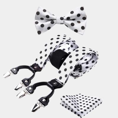 White Polka Dot Bow Tie And Suspenders Set from Gentlemansguru.com