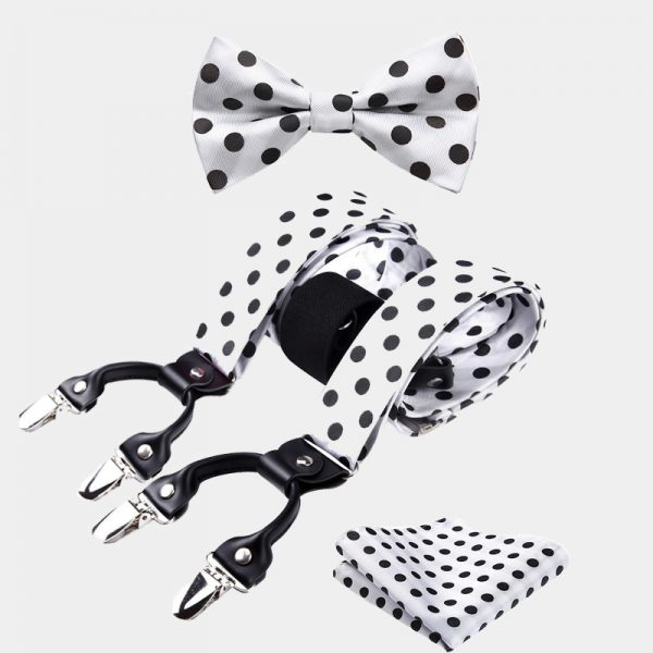 White Polka Dot Bow Tie And Suspenders Set from Gentlemansguru.com