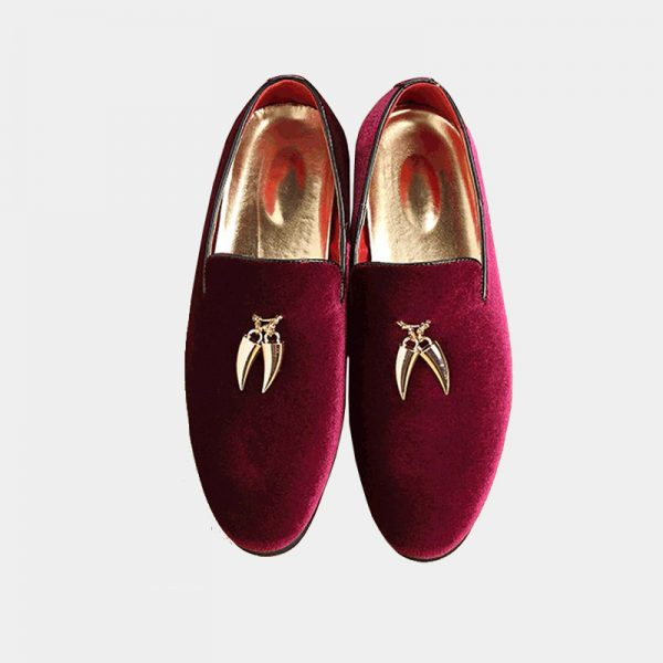 burgundy Suede Shoes With Gold Tassels For Men
