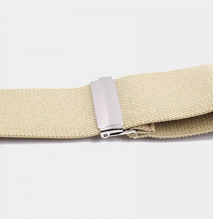 Adjustable Beige Button End Suspenders from Gentlemansguru.com