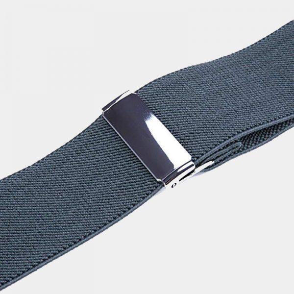 Adjustable Gray Double Clip Suspenders from Gentlemansguru.com