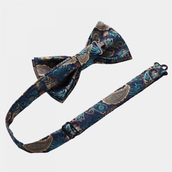 Aqua Blue Paisley Bow Tie Set from Gentlemansguru.com