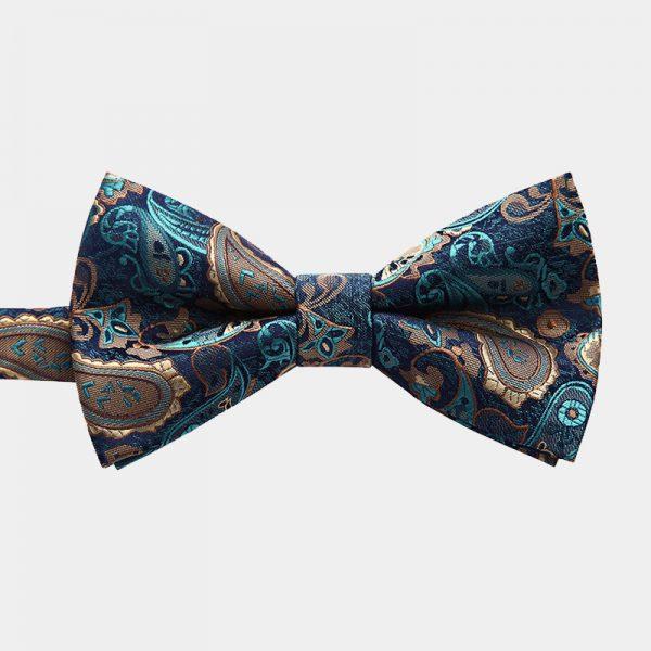 Aqua Blue Paisley Pre-Tie Bow Tie from Gentlemansguru.com