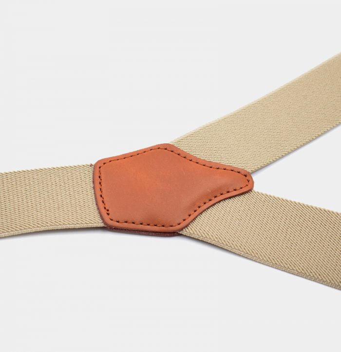 Beige Button End Suspenders For men from Gentlemansguru.com