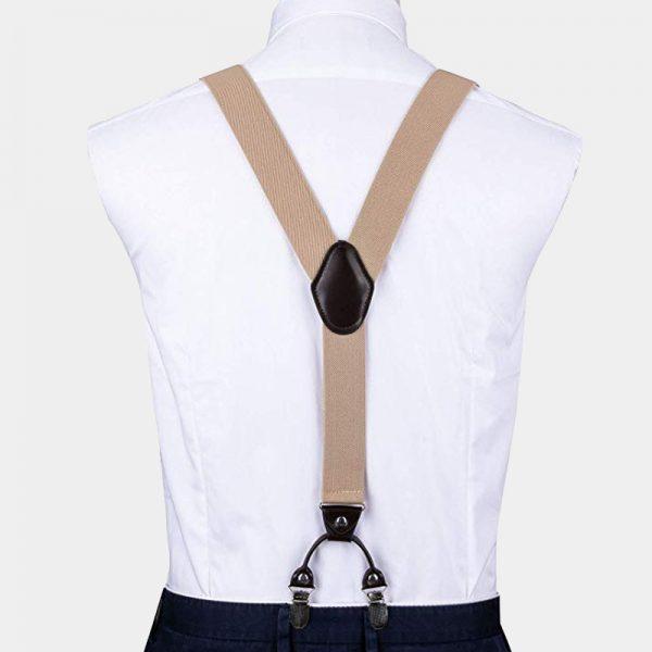Beige Dual Clip Double Ups Dress Suspenders from Gentlemansguru.com