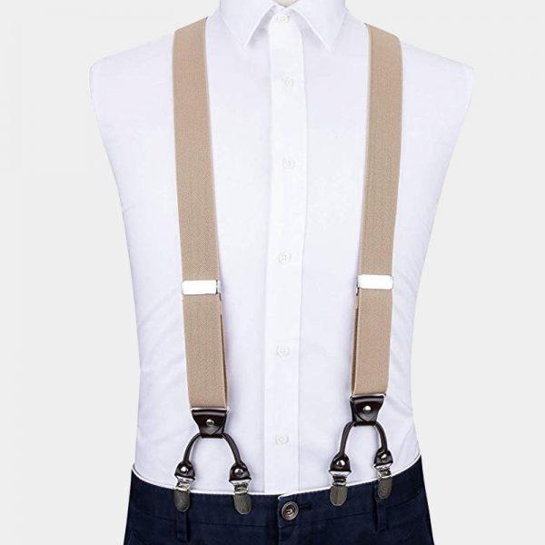 Beige Dual Clip Double Ups Suspenders from Gentlemansguru.com