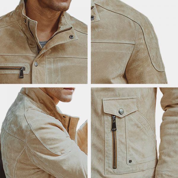 Beige Men's Suede Leather Jacket from Gentlemansguru.com