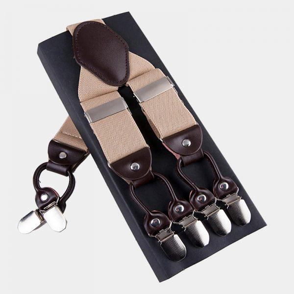 Beige Double Clip Suspenders -Dual Clip Suspenders- Beige Tuxedo Suspenders-Hold Up Suspenders-Double Up Suspenders from Gentlemansguru.com