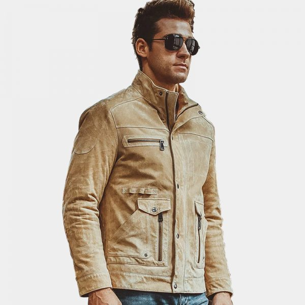 Beige Suede Leather Jacket from Gentlemansguru.com