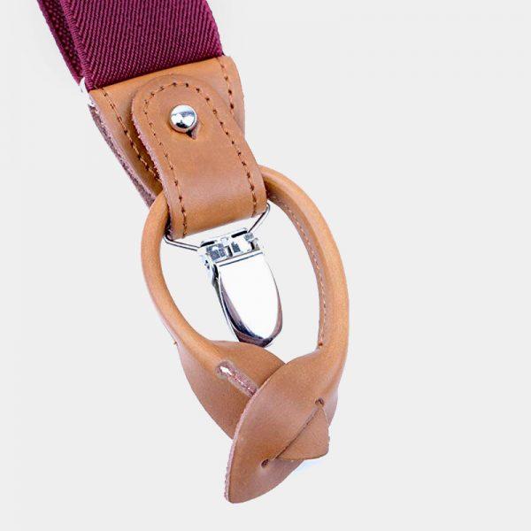 Best Mens Burgundy Button End Suspenders from Gentlemansguru.com