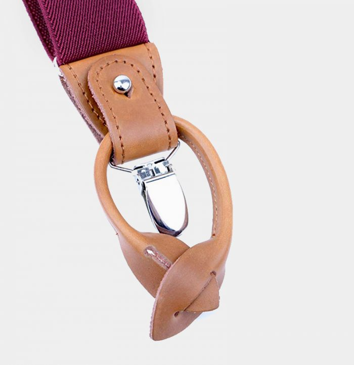 Best Mens Burgundy Button End Suspenders from Gentlemansguru.com