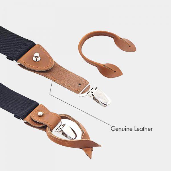 Black Button End Suspenders With Brown Genuine Leather from Gentlemansguru.com