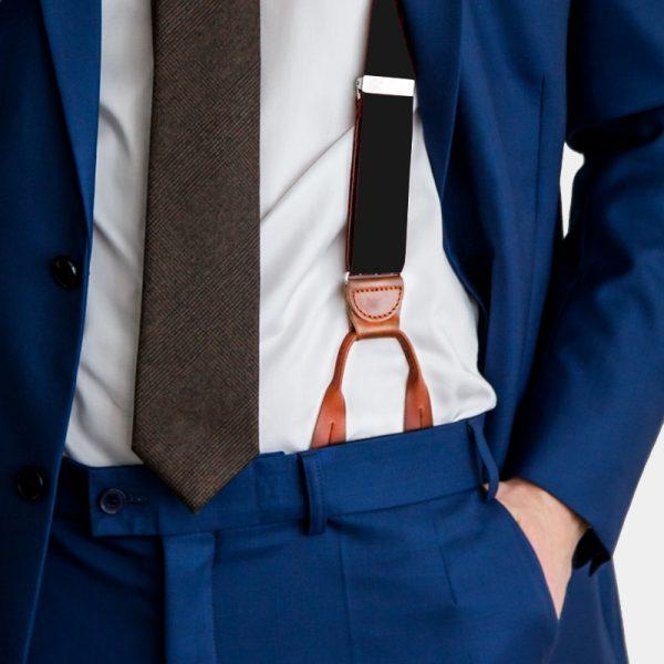 Black Button Suspenders With Brown Leather from Gentlemansguru.com