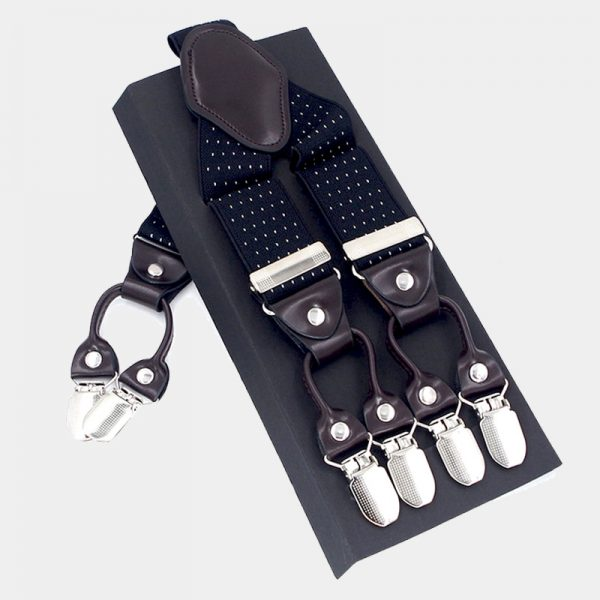 Black Dotted Double Clip Suspenders -Dual Clip Suspenders-Black Tuxedo Suspenders-Hold Up Suspenders-Double Up Suspenders from Gentlemansguru.com