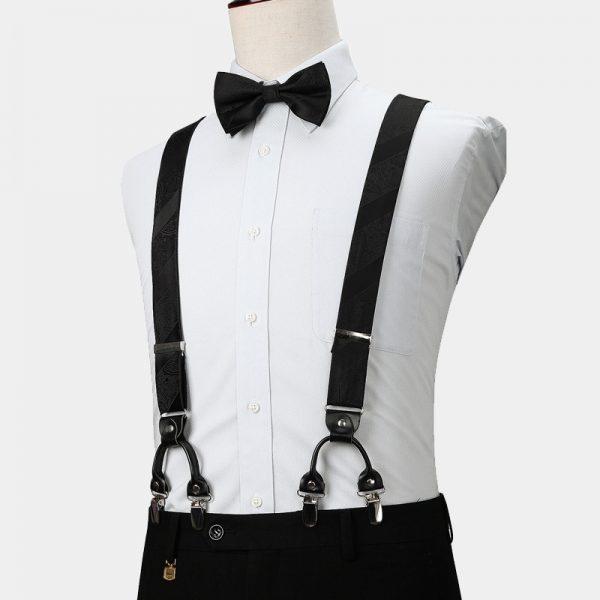 Black Paisley Suspenders And Bow Tie Set from Gentlemansguru.com