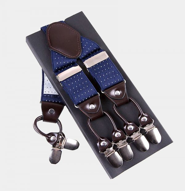 Blue Dotted Double Clip Suspenders -Dual Clip Suspenders-Black Tuxedo Suspenders-Hold Up Suspenders-Double Up Suspenders from Gentlemansguru.com