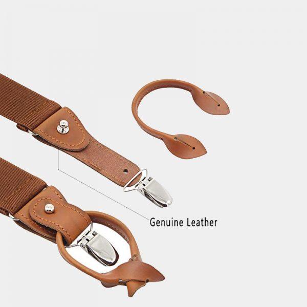 Brown Button End Suspenders With Genuine Leather from Gentlemansguru.com