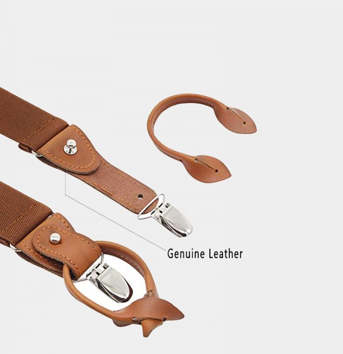 Brown Button End Suspenders With Genuine Leather from Gentlemansguru.com
