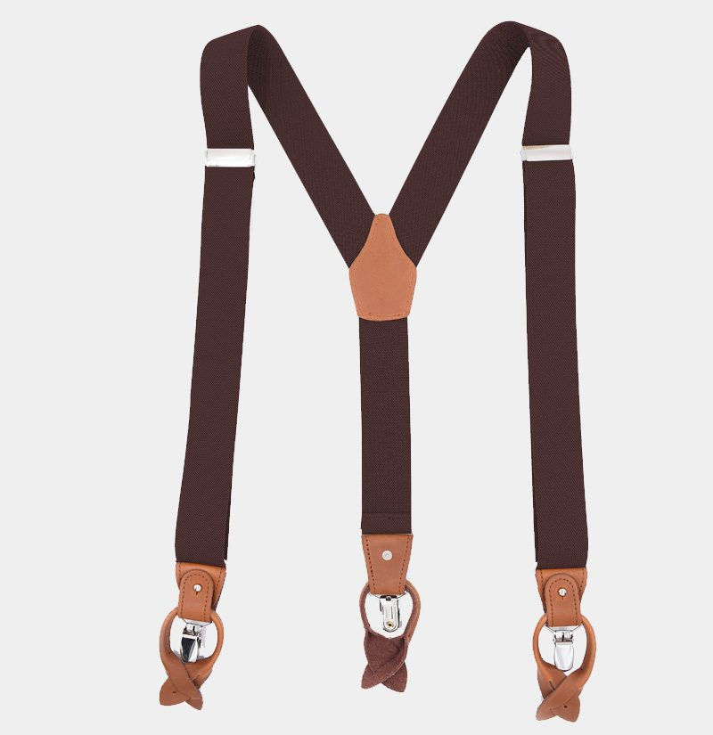 Brown Button End Suspenders from Gentlemansguru.com